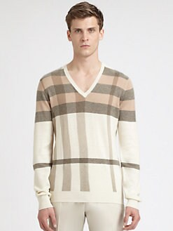 Burberry London - Printed Check V-Neck Sweater
