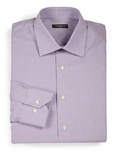 Saks Fifth Avenue Men's Collection - Herringbone-Print Dress Shirt