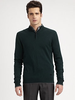 Armani Collezioni - Silk & Camel Hair Zip-Neck Sweater
