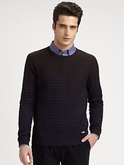 Armani Collezioni - Silk & Camel Hair Textured-Stripe Sweater