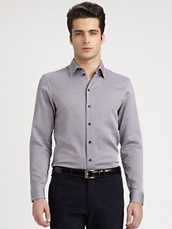 Armani Collezioni - Check-Textured Cotton Shirt