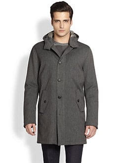 Armani Collezioni - Hooded Button-Front Coat