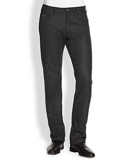 Armani Collezioni - Wool-Flannel Five-Pocket Pants