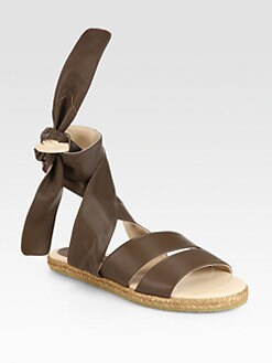 Chloe - Leather Tie-Up Espadrille Sandals