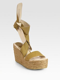 Chloe - Leather Tie-Up Espadrille Wedge Sandals