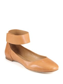 Chloe - Leather Ankle Strap Ballet Flats