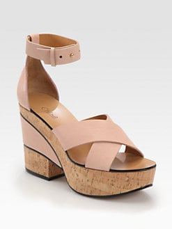 Chloe - Leather Cork Wedge Sandals