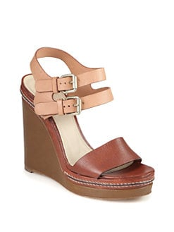 Chloe - Leather Double Strap Wedge Sandals