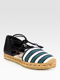 Chloe - Leather & Canvas Lace-Up Espadrilles
