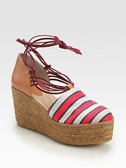 Chloe - Striped Canvas & Leather Tie-Up Espadrille Wedges