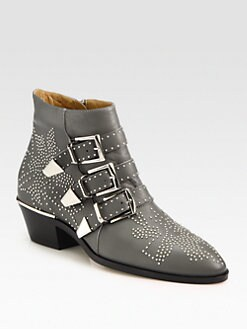 Chloe - Studded Leather Ankle Boots