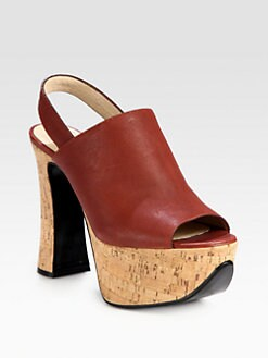 Chloe - Leather Cork Platform Slingback Sandals