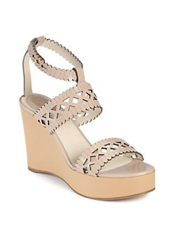 Chloe - Scalloped Leather Wedge Sandals