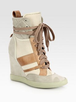 Chloe - Mixed Media Lace-Up Wedge Sneakers