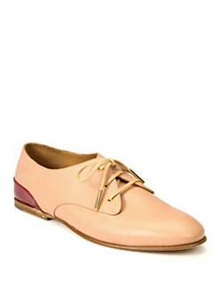 Chloe - Leather & Patent Leather Lace-Up Oxfords