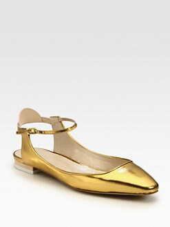 Chloe - Metallic Leather Ankle Strap Ballet Flats