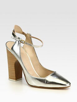 Chloe - Metallic Leather Slingback Pumps