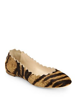 Chloe - Scalloped Tiger-Print Pony Hair Flats