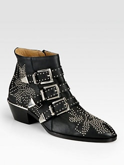 Chloe - Suzanna Studded Leather Buckle Ankle Boots
