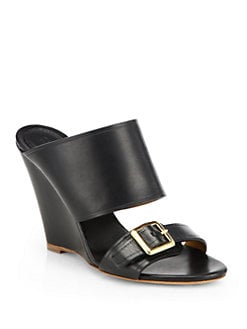 Chloe - Leather Wedge Slides