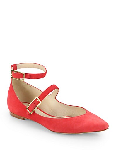 Suede Mary Jane Double-Strap Ballet Flats