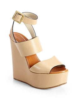 Chloe - Leather Ankle-Strap Wedge Sandals