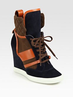Chloe - Suede & Leather Lace-Up Wedge Sneakers