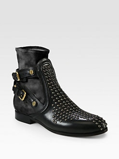 Chloe - Short Sock Studded Leather Ankle Boots
