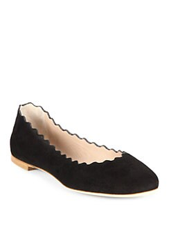 Chloe - Suede Scalloped Ballet Flats