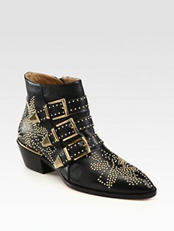 Chloe - Studded Leather Buckle Ankle Boots