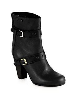 Chloe - Leather Double-Buckle Boots