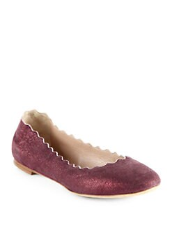 Chloe - Metallic Suede Scalloped Ballet Flats