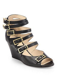 Chloe - Strappy Leather Wedge Sandals