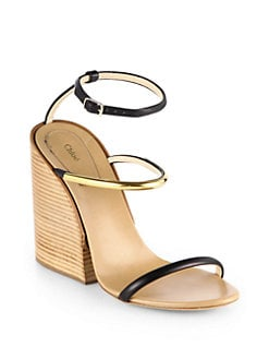 Chloe - Leather & Metal Ankle-Strap Wedge Sandals