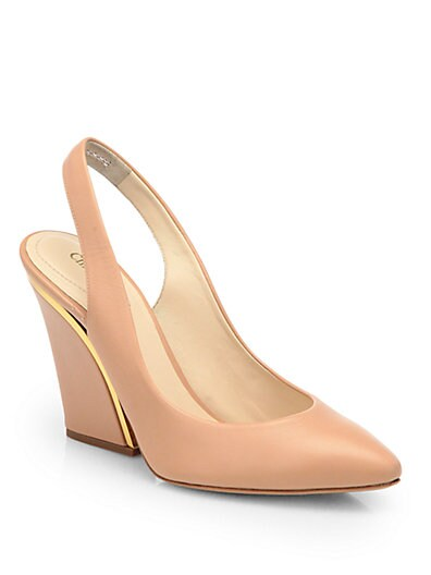 Leather Wedge Slingback Pumps