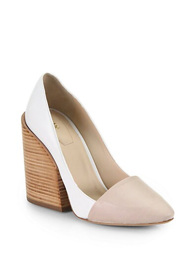 Bicolor Leather Wedge Pumps