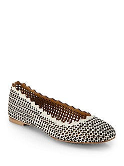 Chloe - Perforated Leather Ballet Flats