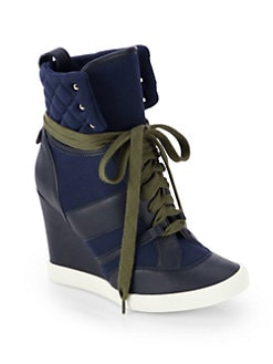 Chloe - Leather & Canvas Wedge Sneakers