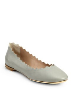 Chloe - Scalloped Leather Ballet Flats