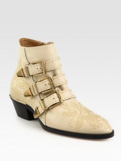 Chloe - Suzanna Leather Studded Buckle Ankle Boots