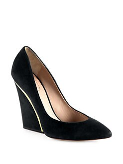 Chloe - Suede Wedge Pumps