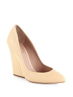 Chloe - Leather Wedge Pumps