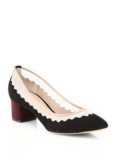Scalloped Suede  Mesh Pumps