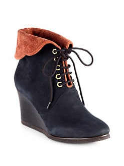 Chloe - Fold-Over Suede Lace-Up Wedge Ankle Boots