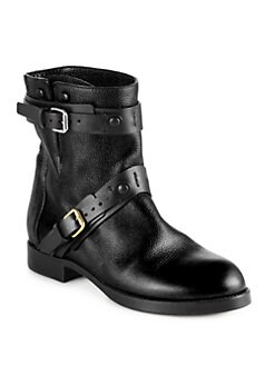 Chloe - Leather Double-Buckle Motorcycle Boots