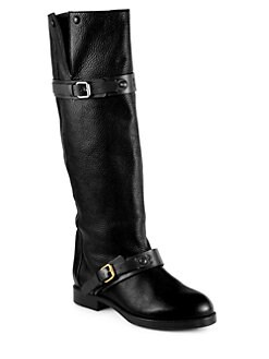 Chloe - Leather Double-Buckle Knee-High Boots