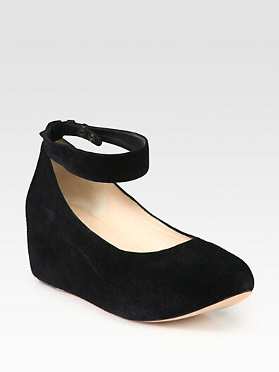 Suede Ankle Strap Wedge Pumps