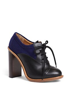 Chloe - Benneth Bicolor Leather Lace-Up Ankle Boots