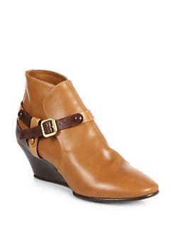 Chloe - Two-Tone Leather Wedge Ankle Boots