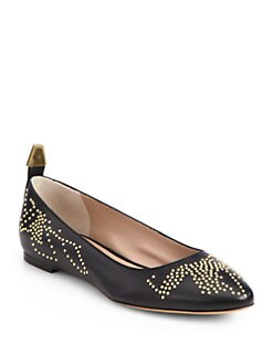 Chloe - Leather Studded Ballet Flats